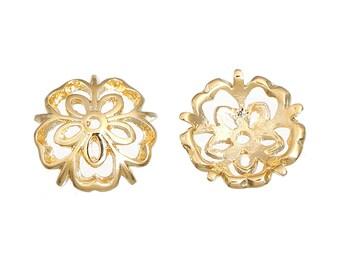 Set of 5 Golden bead caps for beads 6-10mm - SC0085630-