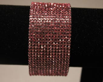 Gorgeous Pink Rhinestone Bracelet with magnetic clasp