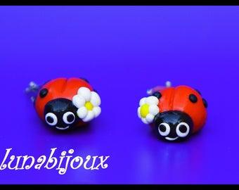 Child - Clip earrings - cheerful Ladybug - charm bracelet little girl