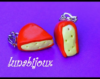 Earrings fimo red gourmet cheese