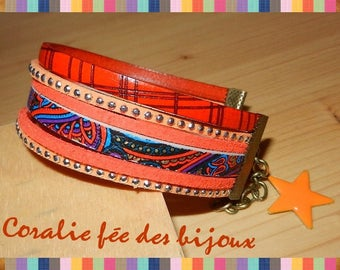Orange suede printed leather Cuff Bracelet