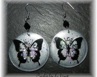 resin earrings silver black Butterfly Sequin, Crystal beads