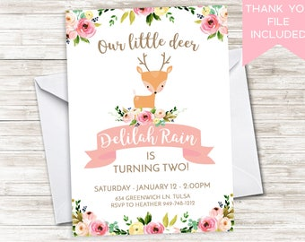 Deer Birthday Invitation Invite Digital Woodland Animals Floral Watercolor Pink Girls ANY AGE 5x7