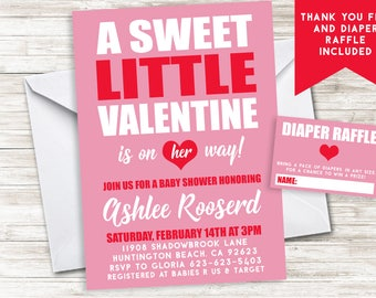 Valentine Baby Shower Invitation Invite Digital 5x7 Pink Red Sweetheart Heart Sprinkle