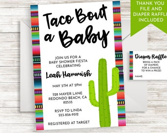 Taco Bout A Baby Invitation Invite Shower Sprinkle Digital Serape Fiesta 5x7 Digital Neutral Boy Girl
