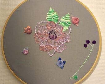 "Number 3, Peony embroidery 9"" hoop"