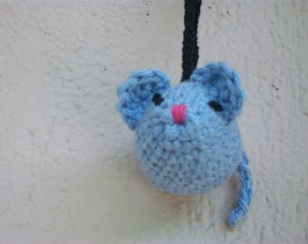 Mouse Keychain hand made blue amigurumi crochet