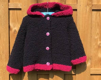 Jacket girl 12 to 18 months, pink and black hoodie.