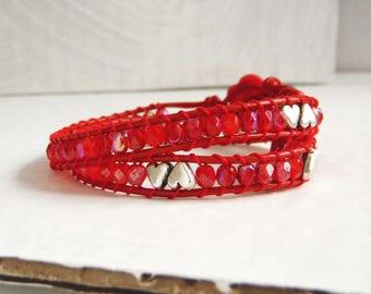 Bracelet silver/red with cuocini type chan luu wrap bracelet