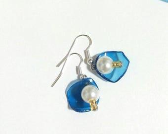 Earrings white gold blue/blue earrings white gold