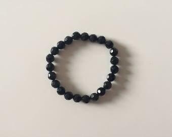 Black Plastic Beaded Bracelet