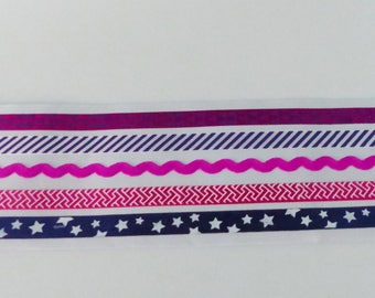 5 stripes ribbons Fuchsia and blue color decals