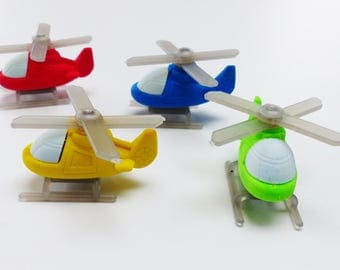 Set of 4 erasers helicopter supply kit fun helicopter