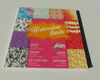 30 sheets watercolour paper floral flower watercolor square