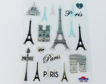 Board sticker Eiffel Tower Notre Dame Paris Montmartre-triumphal arch