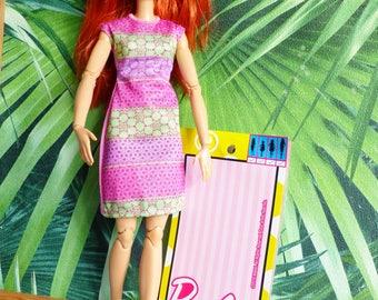 original BARBIE doll clothes dress sleeveless pink and green mattel