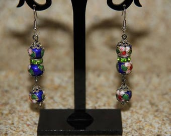 Blue flower pattern cloisonne bead earrings