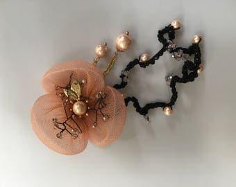 Flower Hair Accessories,Flower Hair Ties Bracelet,Bridal Hair Elastics,Pearls Hair Accessories,Pearls Bracele, Dyed Yarn Hair Accesories
