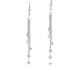 14k White Gold Chandelier Earrings with Round Cubic ZIrconia Stations By The Yard