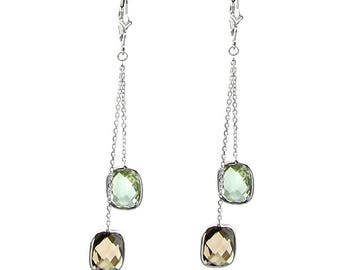 14k White Gold Chandelier Gemstone Earrings with Cushion Cut Green And Smoky Quartz