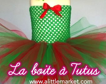 6 9 12 month ☆ ☆ baby girl costume tutu dress Christmas red and green tulle ☆ bloomer Elf Pixie