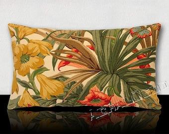 "Vintage flowers, foliage, palms, butterflies ""BRUGMANSIA"" pillow. DESIGNER G P & J BAKER."