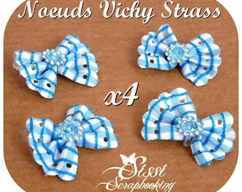 LOT 4 BOW RIBBON BLUE WHITE GINGHAM PLAID RHINESTONE BARRETTES COUTURE FASHION JEWELRY