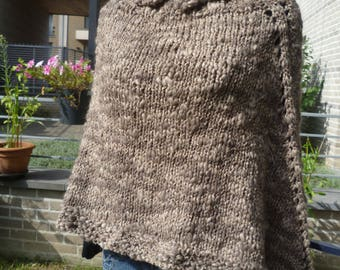 Poncho woman wool hand knitted!