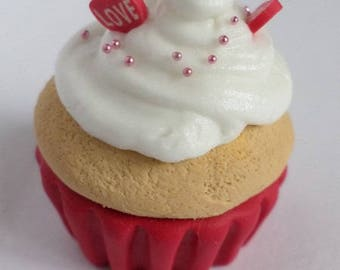 Cupcake necklace love Red and whipped cream and Red Bell