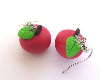 Red apples in polymer clay earrings