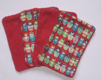 4 Washcloths, wipes large red cotton printed with multicolored matriochkas