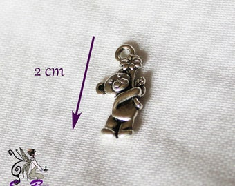 Charm silver bear and flower