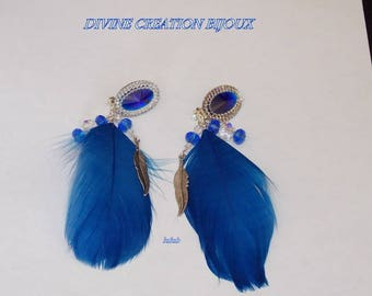 Clips earrings feather and Crystal bead with resin cabochon