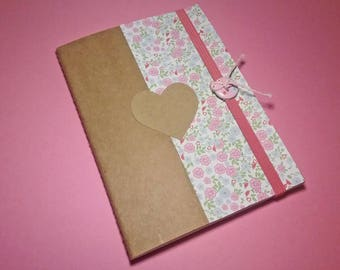 Liberty notebook A6 kraft liberty with elastic pink raspberry