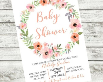 Pink Floral Printable Baby Shower Invitation