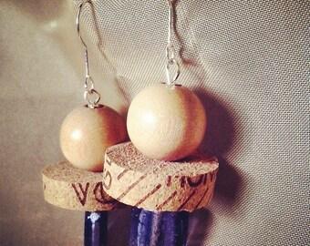 geometric earrings pearl purple glass Cork