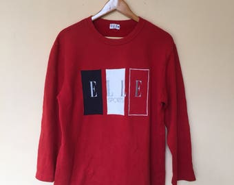 Elle Sport Crewneck Jumper Big Spell Embroidered Logo Sweatshirts Pullover m Size M Vintage 90s Red Color
