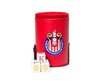 Chivas Guadalajara Elegant Dice Cup with Storage Compartment. 5 Engraved Poker Dice