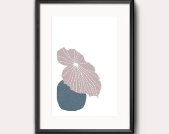 Blue pot, blue, pink, plant, leaf, modern print, pattern, wall art, digital art