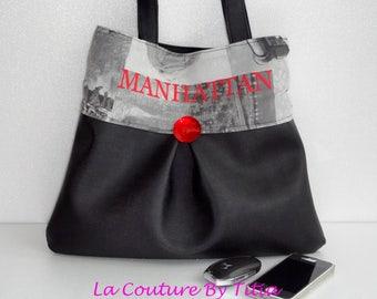 Faux leather black handbag Manhattan handmade @lacouturebytitia women's fashion