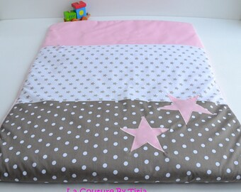 Blanket baby blanket handmade Star Pink and Taupe polka dot @lacouturebytitia