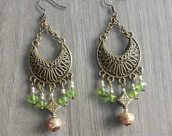 Green and gold Bohemian earrings