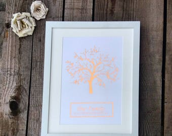 Personalised framed family tree foil print