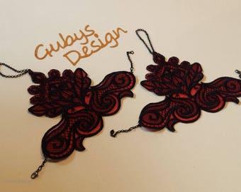 Lace wrist - wrist cuffs embroidery punk