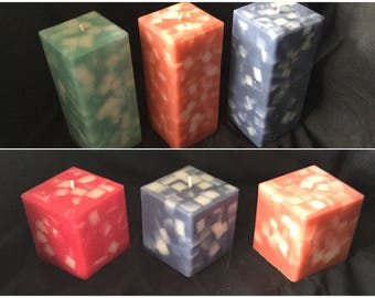 Handmade chunk design pillar candles