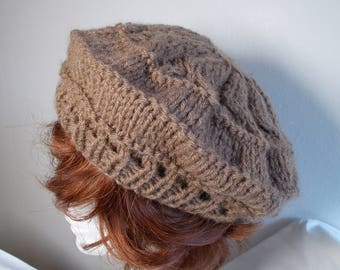 Beret knitted with needles yarn Tan color