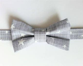 Bow tie for boy gray with white stars
