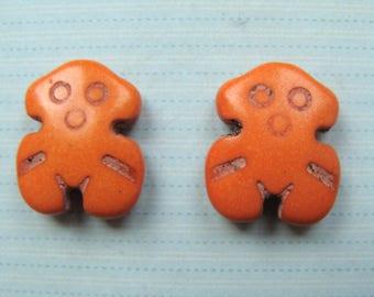 Set of 2 orange pattern howlite beads 20x15mm snowman