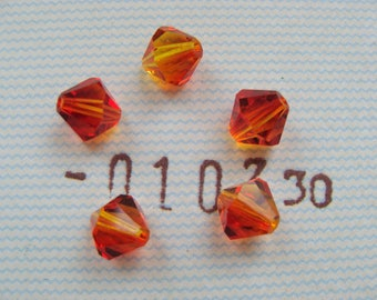 Lot 5 orange (flame) 8 mm Swarovski Crystal bicone beads