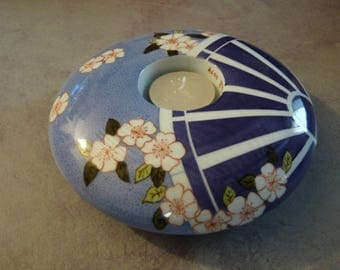 Large round Pebble candle holder hand painted